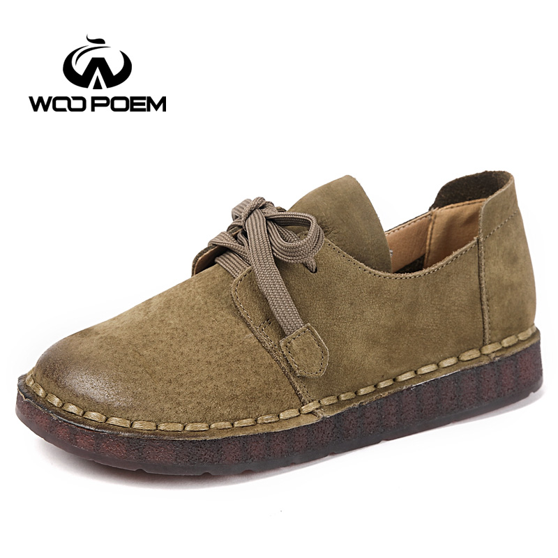 WooPoem Spring Shoes Woman Genuine Leather Flats Lace-up Low Heel Cow Muscle Sole Comfortable Soft Sole Sewing Women Shoes 8720 woopoem brand 2017 new autumn shoes woman breathable genuine leather flats low heel soft sole fretwork casual women shoes 7761