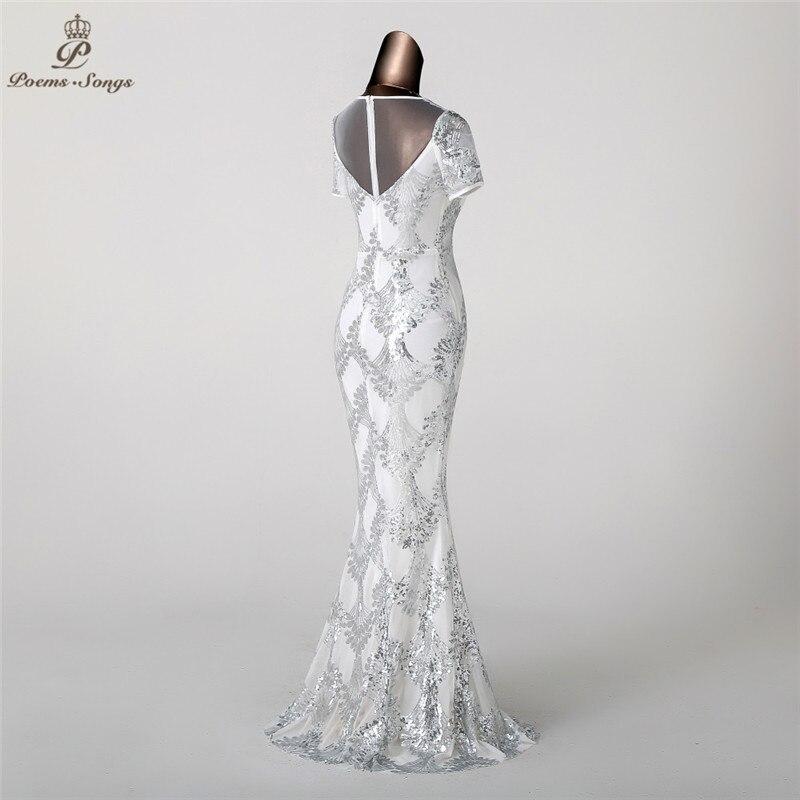 Poems Songs 2018 Mermaid Evening Dress prom gowns Formal Party dress  vestido de festa Elegant Luxury Silver robe longue -in Evening Dresses from  Weddings ... 42f5347ef576