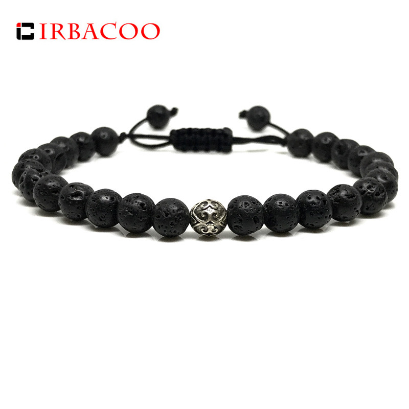 IRBACOO 2018 New Brand Men Bracelet Lava Stone With Sterling Silver charm Bracelets For Men Jewelry Gift