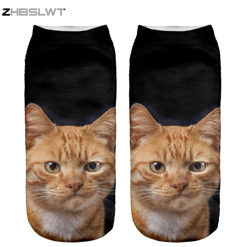 ZHBSLWT New 3D Print Orange Cat Women Socks Low Cut Ankle Comfortable Hosiery Medias Calcetines Calzini Chaussette -9