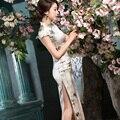 Sheng Xiaomo high-end long heavy silk cheongsam dress elegant cheongsam dress shirt dress new spring and summer