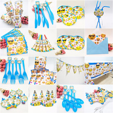 Emoji Kids Birthday Party Decorations Disposable Tableware Plates Cups tablecloth cap Event Party supplies baby shower favors 1pcs emoji disposable tableware tablecloth happy birthday party decorations supplies easter baby shower wedding activity goods