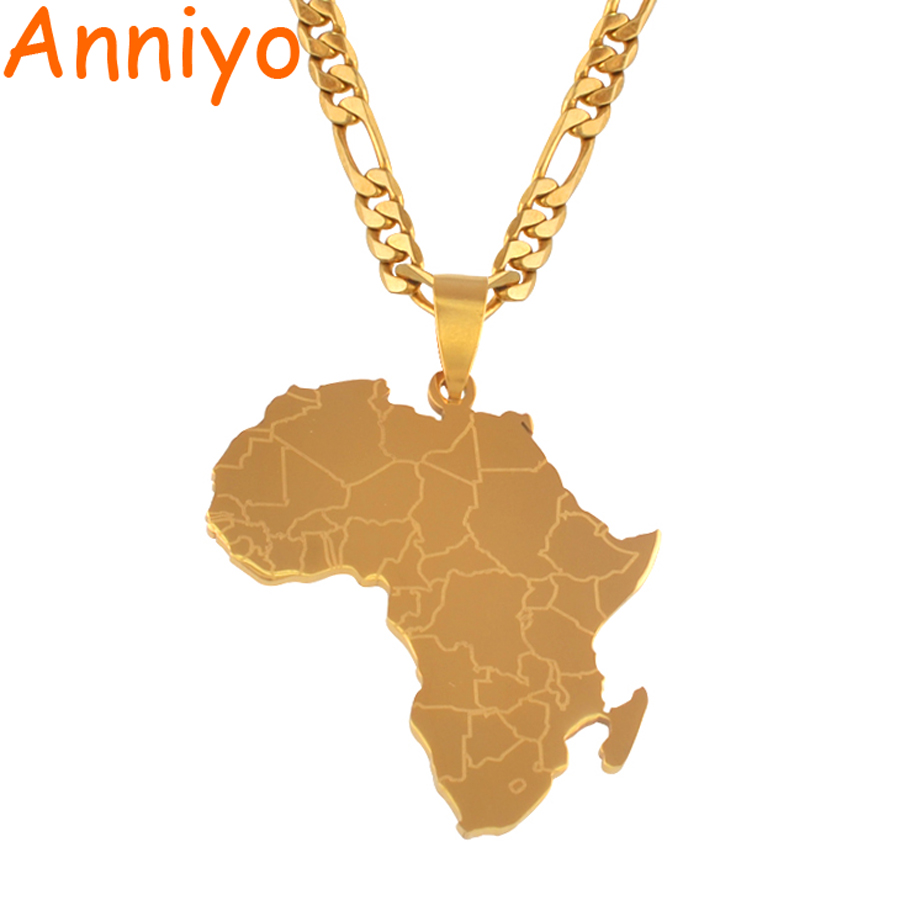 Anniyo Hip-hop Style Africa Map Pendant Necklaces Gold Color Jewelry For Women Men African Maps Jewellery Gifts #043821 new fashion 3d african clothes hip hop africa clothing dashiki dress printed shirts casual african dresses for women men