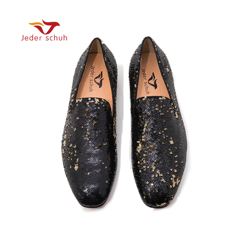 Jeder Schuh luxurious sequins men's loafers wedding and prom two colors men handmade smoking slippers