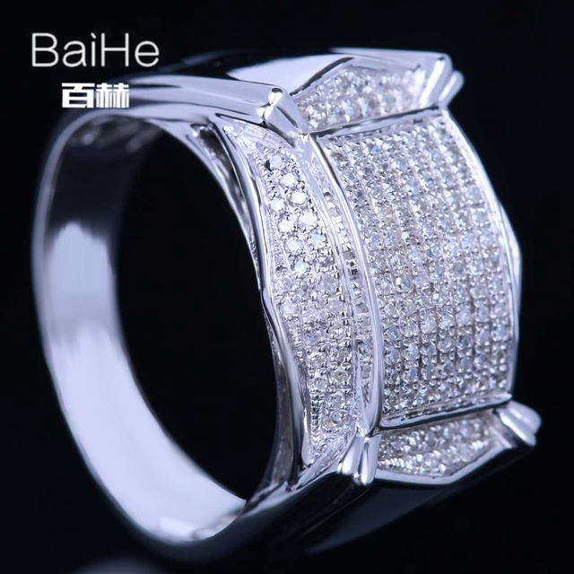 BAIHE Solid 14K White Gold(AU585) 0.55CT Certified H/SI Round Cut 100% Genuine Natural Diamonds Wedding Men Casual/Sporty Ring