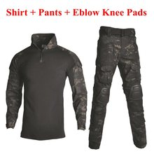 Tactical Camouflage Military Uniform Clothes Suit Men US Army Clothes Airsoft Military Combat Shirt + Cargo Pants Knee Pads недорого