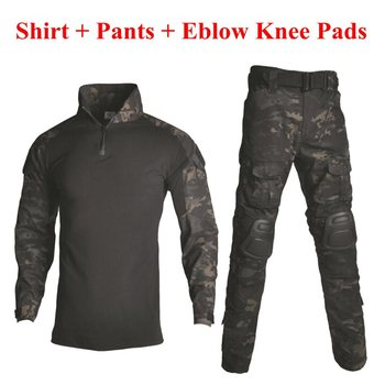 Tactical Camouflage Military Uniform Clothes Suit Men US Army Clothes Airsoft Military Combat Shirt + Cargo Pants Knee Pads men camouflage military tactical uniform clothes hunting clothes gear tactical shirt army combat shirt cargo pants knee pads
