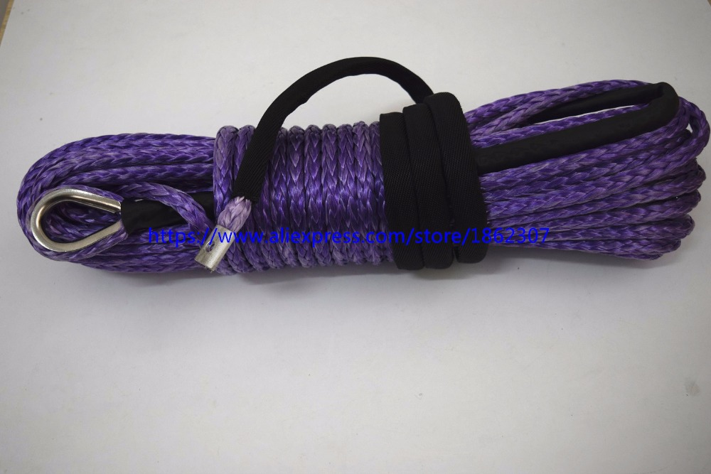 Free Shipping Purple 10mm*30m Synthetic Winch Rope,Winch Rope Extension,Replacement Winch Cable,3/8 Winch Cable