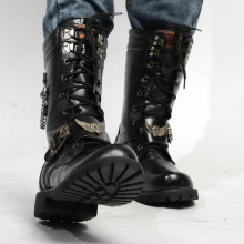 록 펑크 Metal Skull Head Black Shoes 새 Autumn Winter Boots 체인 Mid Calf Men's 츠 망 군 Boots 오토바이 Botas 보낸(China)