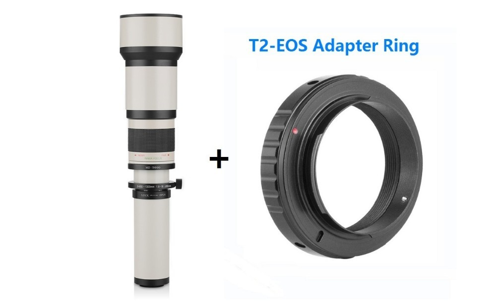 Lightdow 650-1300mm F8.0-F16 Super Telephoto Manual Zoom Lens+T2-AI for Nikon D3100 D30 D5000 D5100 D50 D7100 DSLR Camera 2
