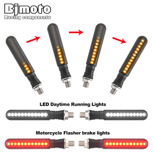 BJMOTO 4Pcs LED Motorcycle Turn Signals Sequential Indicators Flowing Water Blinker Brake Tail Light DRL Bendable Flicker
