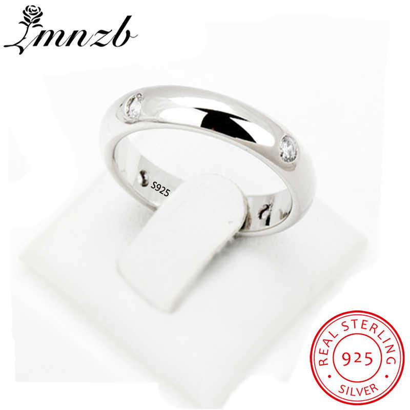 LMNZB New Hot Sale 100% Original 925 Solid Silver Ring Set 4pcs CZ Diamant Engagement Wedding Couples Ring for Lover Women LR946