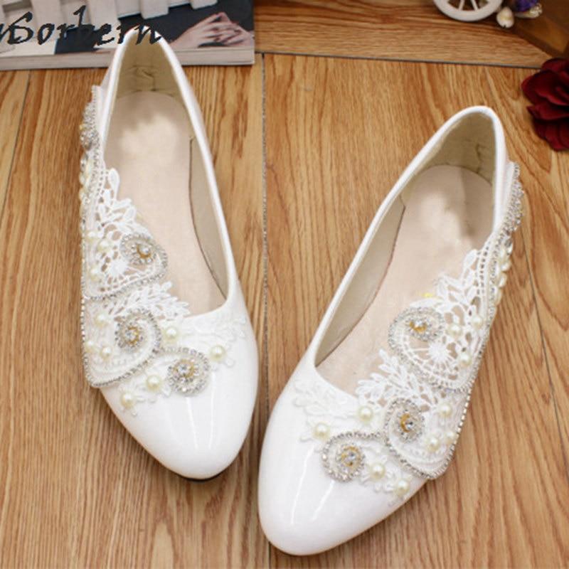 Здесь продается  Sorbern White Flat Wedding Shoes Crystals Luxury Beaded Lace Flower Bridal Flats Spring Summer Womens Shoes 2018 Shoes For Girs  Обувь