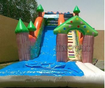 inflatable water slide pool,inflatable bouncer  with water slide for free blower