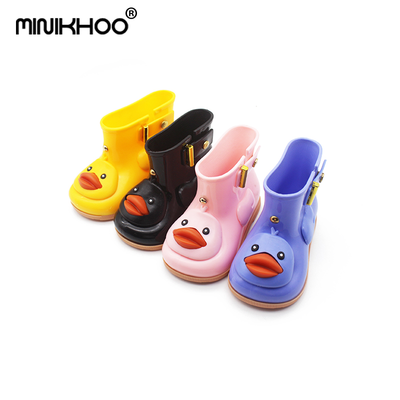 Mini Melissa 2018 Duck Rain Boots Cartoon Jelly Boots Mickey Minnie Children Rain Boots Baby Boots Girls Sandals Mini Melissa