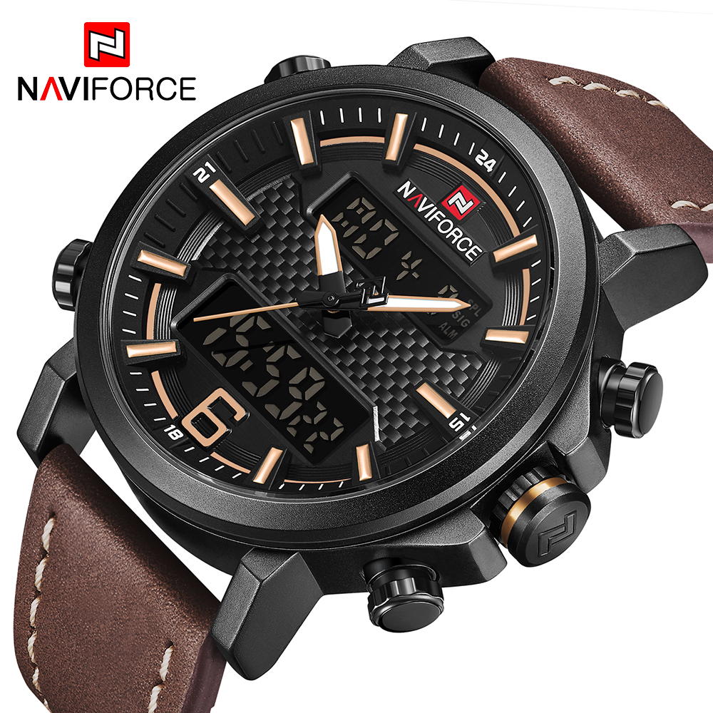 Men Casual Sport Watches Mens Leather Quartz Wrist Watch Male Military LED Digital Clock Reloj Hombre