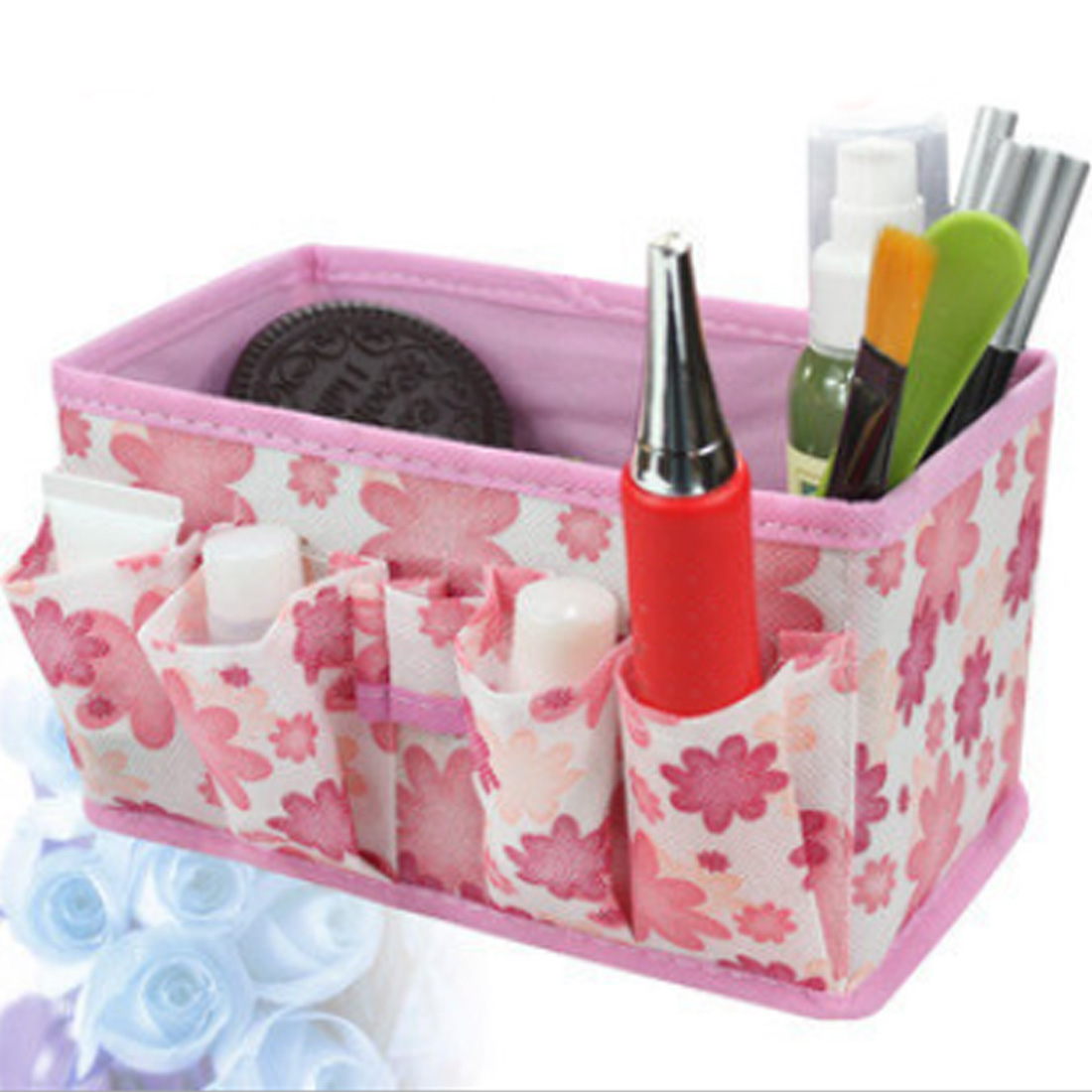 Top Sale Green/Blue/Purple/Pink/Orange Multifunction Beauty Flower Folding Makeup Cosmetic Storage Box