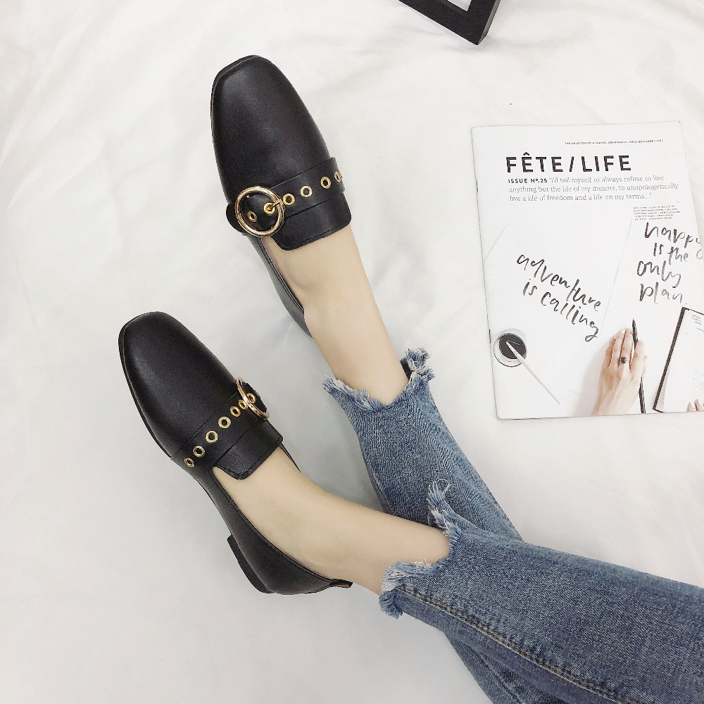 Women Shoes Ballet Flats Metal Button PU Leather Slip on Women Moccains Casual Loafers Shallow Boat Wears Female 2018 Flat Women women ladies flats vintage pu leather loafers pointed toe silver metal design
