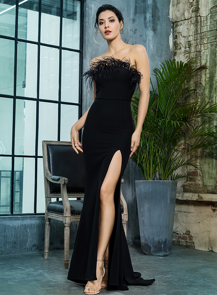 Black Strapless Cut Out Feather Long Dress 4