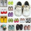 2016 Nuevos 100% niños del Cuero Genuino calzan Zapatos de bebé Mocasines Soft fringe girls Newborn primer caminante antideslizante Infantil zapatos