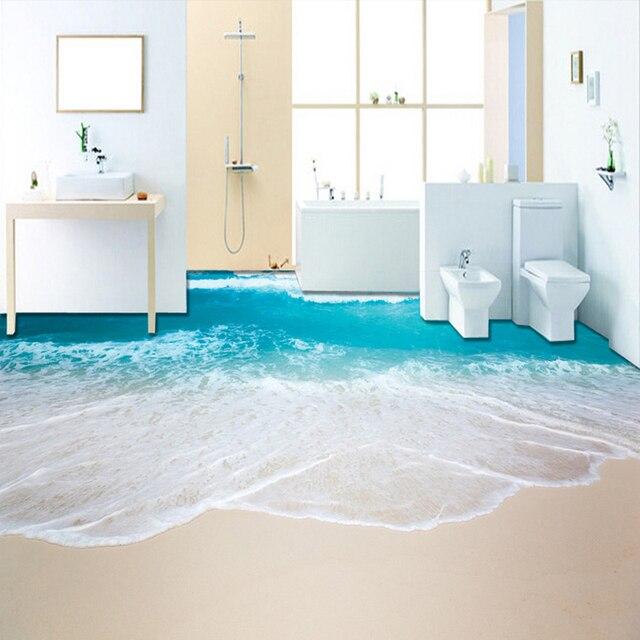Bon PVC Self Adhesive Waterproof 3D Floor Murals Sea Wave Bathroom Living Room  3D Floor Tiles Wallpaper