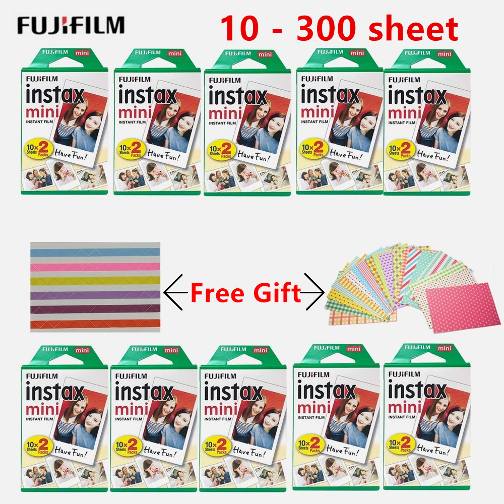 10-300 folhas fujifilm instax mini filme branco 3 polegadas filme papel fotográfico instantâneo para instax mini8 9 7s 9 70 25 50s 90 SP-1 2 câmera
