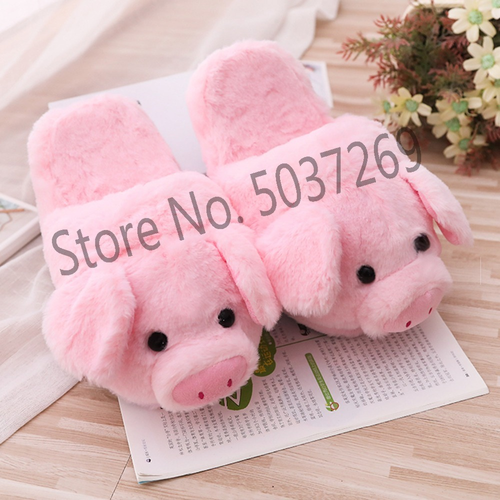 26cm Cute Pink Pig Plush Indoor Warm Winter Adult Stuffed Cartoon Kawaii Shoes Valentine Gift for Girls in Stuffed Plush Animals from Toys Hobbies