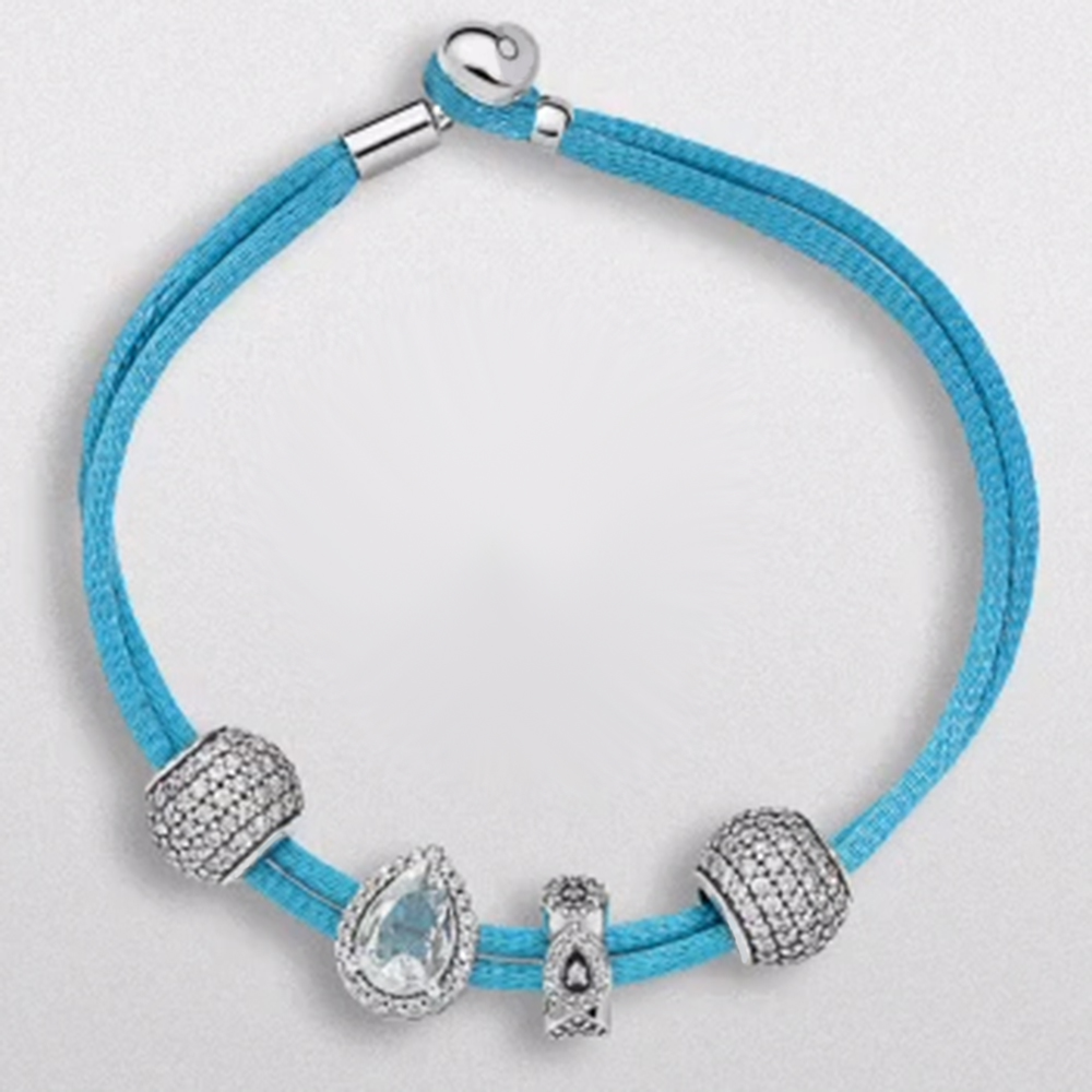 NEW s925 Luxury Brand Women Ornament leather rope Unique Silver  Charm for Women DIY Beads & Bangles Jewelry Gift Light blueNEW s925 Luxury Brand Women Ornament leather rope Unique Silver  Charm for Women DIY Beads & Bangles Jewelry Gift Light blue