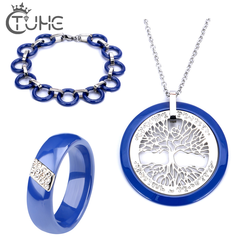 2019 Christmas Gift Blue Bracelets Rings Necklace Sets Jewelry Smooth Made Of Innoxious Ceramic Anti-Allergie Elegant Blue Sets 2019 Christmas Gift Blue Bracelets Rings Necklace Sets Jewelry Smooth Made Of Innoxious Ceramic Anti-Allergie Elegant Blue Sets
