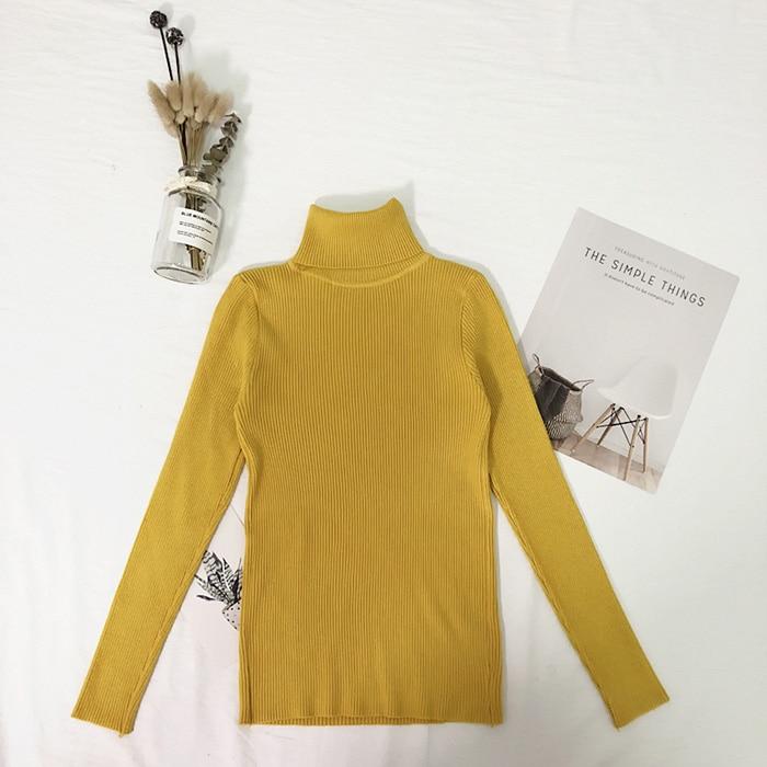 Женские свитера, зимние топы, водолазка, свитер для женщин, тонкий пуловер, джемпер, вязаный свитер, Pull Femme Hiver Truien Dames, новинка - Цвет: Цвет: желтый