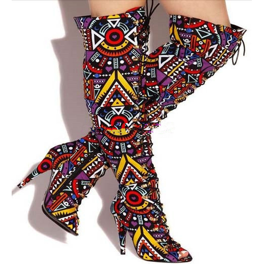Botas Mujer Sexy Peep Toe Over The Knee Boots Woman Cross-tied Lace-Up Thigh High Boots Nightclub Style High Heels Women Boots