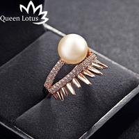 Queen Lotus new fashion individuality crown ring zircon gold pearl ring Micro-mosaic rings High quality lady jewelry party gift