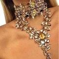 Za moda boho único maxi colar collier colar neck cadeia choker de cristal colares & pingentes de cristal chocker mulheres n1867-1