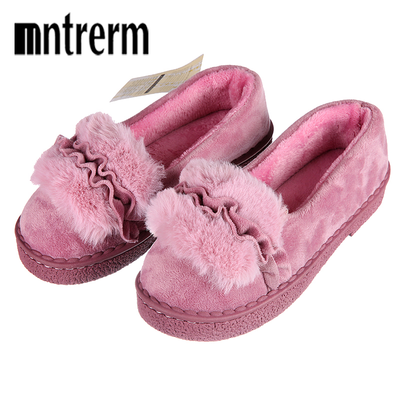 Mntrerm 2018 Fashion Winter Women Slippers Faux Fur Home Indoor Plush Warm Slippers Ladies