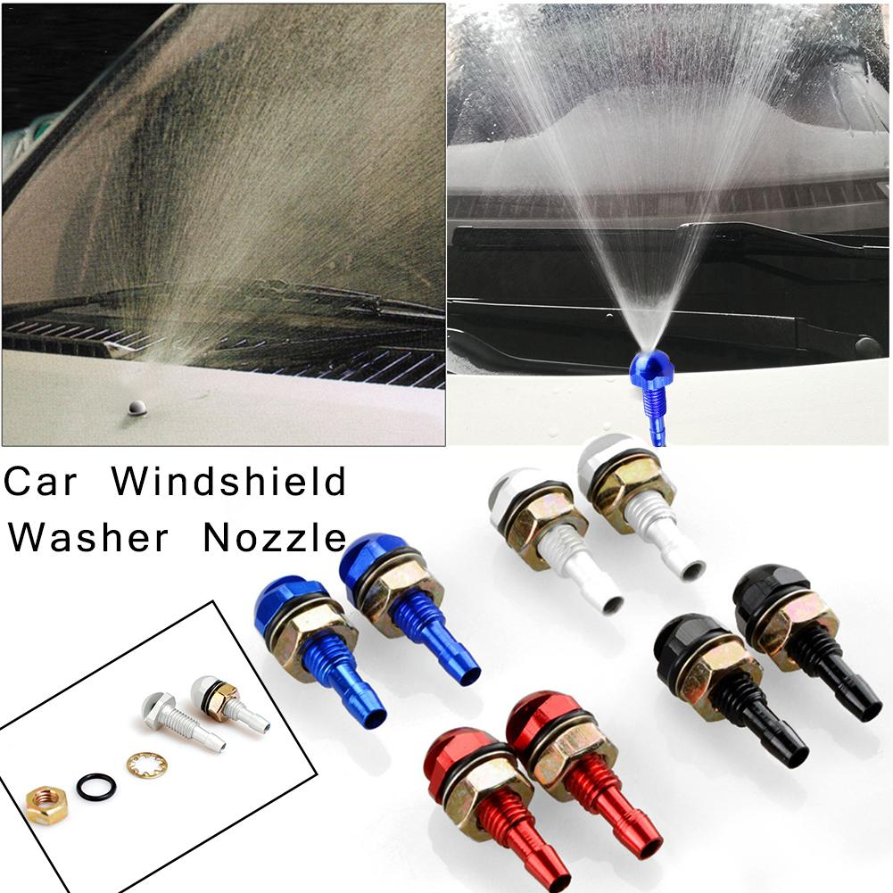 2Pcs Car Front Window Washers Spray Eyes On Front Hood Bonnet Fan-Shaped Auto Wiper Cleaning Injection Nozzle