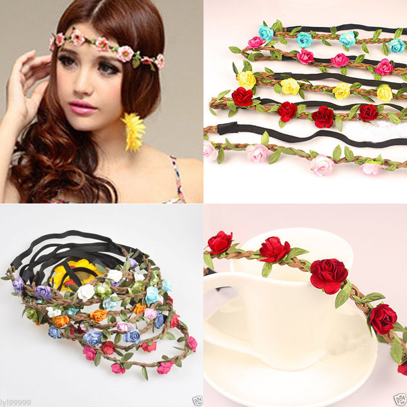 Bohemian Flower Crown Wedding Garland Forehead Hair Head Band Wreath