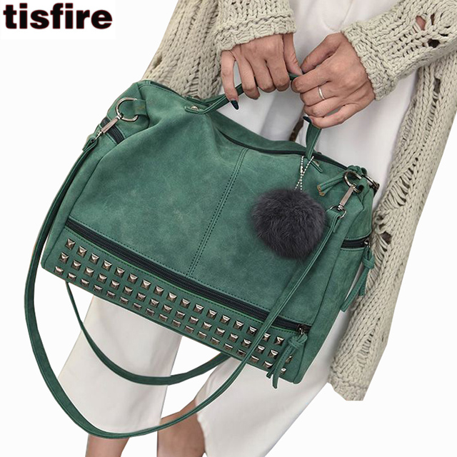 Boston bag luxury suede leather handbags women bags designer vintage top-handle bags punk rivet crossbody shoulder bag female