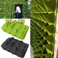 Vertical Pockets Wall Hanging Planting Bags Flower Hanging Felt Planting Bag Indoor Garden Growing Pot Home Supplies 1m*1m