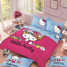 Unsere heißer verkauf bettwäschesatz, Hallo Kitty bed set, komfortable bettwäsche, Hallo Kitty bett bettbezug voll, königin king size, 3/4 pcs