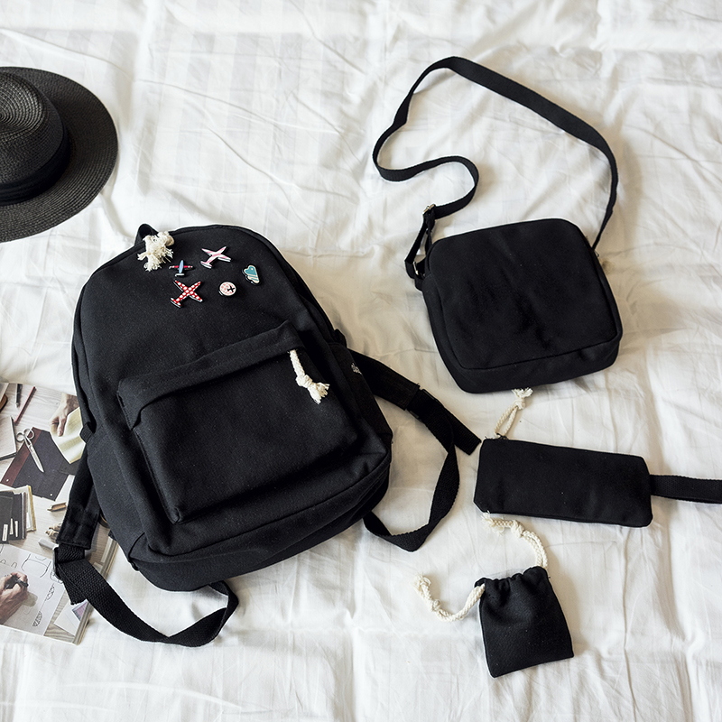Menghuo 5 Pcsset Women Backpacks Cute Plane Badge School Bags For Teenage Girls Simple Canvas Backpacks Ladies Shoulder Bags (14)