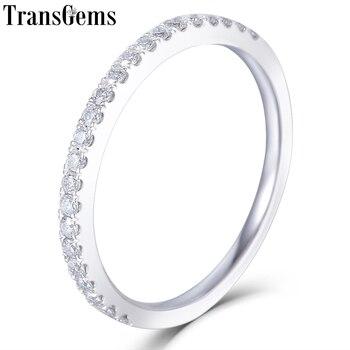 00087c804485 TransGem 14 K oro blanco 585 la mitad de la eternidad boda banda de ...
