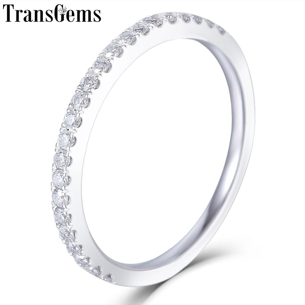 Transggem 14 k 585 화이트 골드 하프 영원 결혼식 23 조각 moissanite 스톤 결혼 반지 여성을위한-에서반지부터 쥬얼리 및 액세서리 의  그룹 1