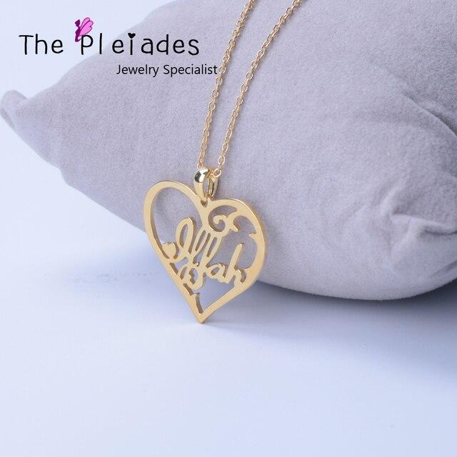 449680fe53eff Argent 925 bijoux pendentif coeur personnalisé avec nom personnalisé évider  plaque d'or collier femmes