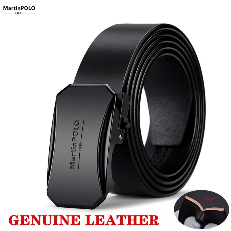 Martinpolo Genuine Leather Belt MaleYoung Fashion Design Jeans Belt Cowhide  Automatic Buckle Brand Men Belts Black MP00901P