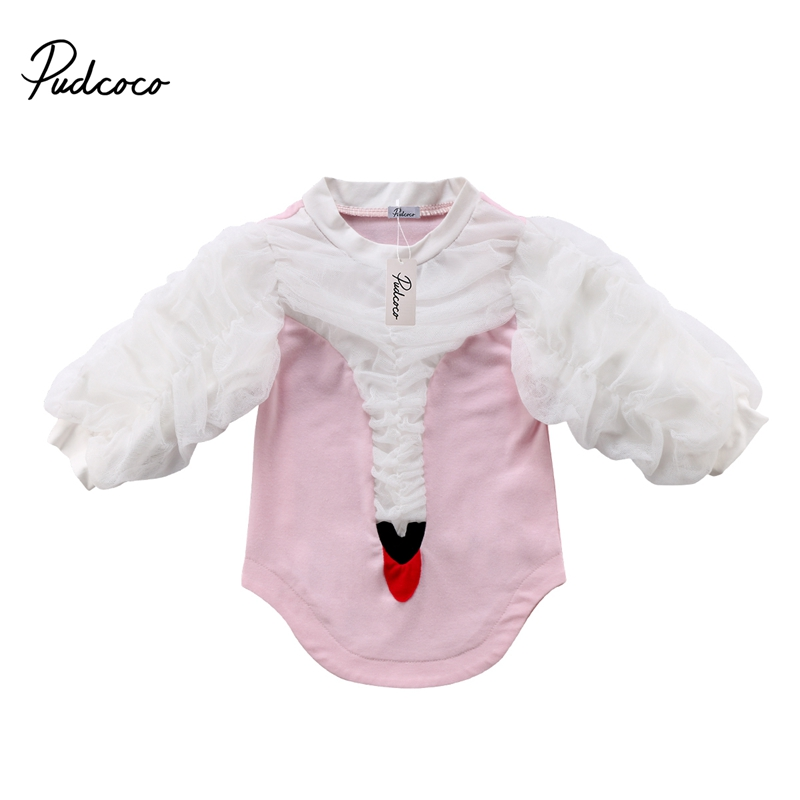 Cute Kinds Summer Casual Patchwork Swan Long Puff Sleeve Princess Tulle Dress Party Dress 0-5T Baby Girl Clothes New
