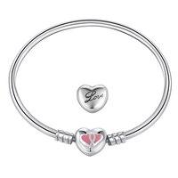 ด้านคุณภาพต้นฉบับการออกแบบความรักตลอดกาลธีมสีชมพูเคลือบเงินแท้925หัวใจคู่สร้อยข้อมือข้อ...
