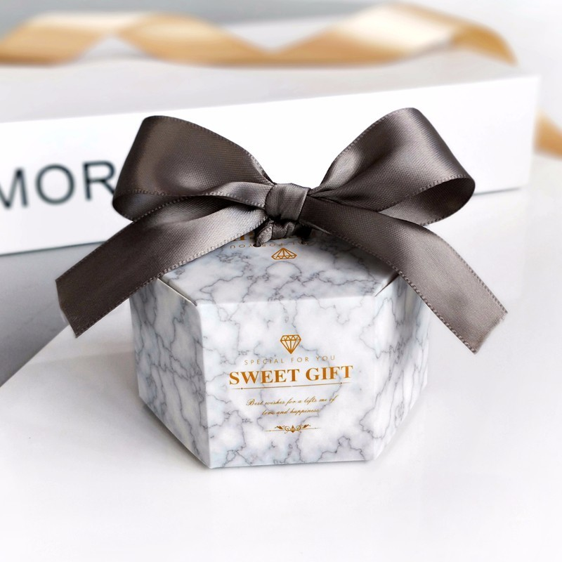 New Europe Hexagon Style Candy Box Wedding Favors Paper Gift Boxes With Ribbon Baby Shower Birthday Gifts Bag Party Supplies