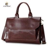 New Fashion Retro Solid Genuine Crazy Horse Leather Men Handbag Briefcases White Collar Coffe Color Business