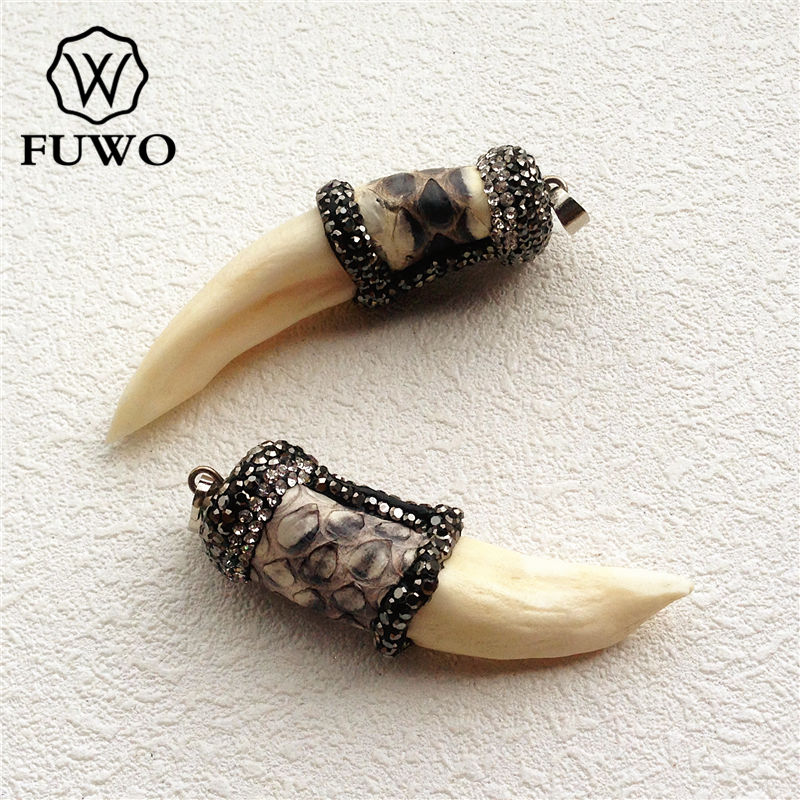 FUWO Pave Rhinestone Bead Wolf <font><b>Tooth</b></font> Pendants Fashion <font><b>Horn</b></font> Shape Charms For Jewelry Making Wholesale Free Shipping PD1529 image