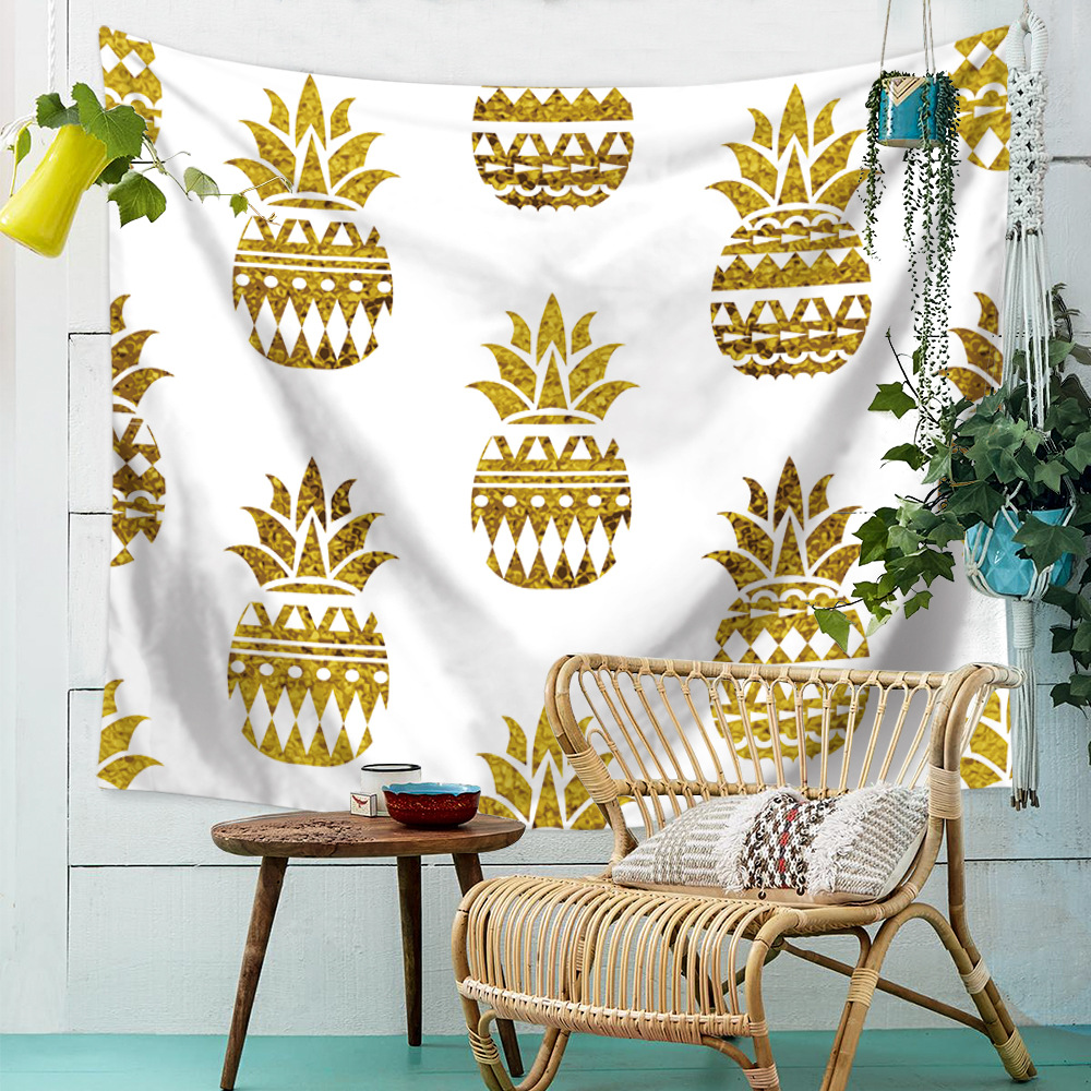 Outstanding Us 9 44 41 Off Rzcortinas Golden Pineapple Tapestry Wall Hanging Carpet Tropical Plant Tablecloth Tribe Style Beach Towel Soft Floral Blanket In Caraccident5 Cool Chair Designs And Ideas Caraccident5Info
